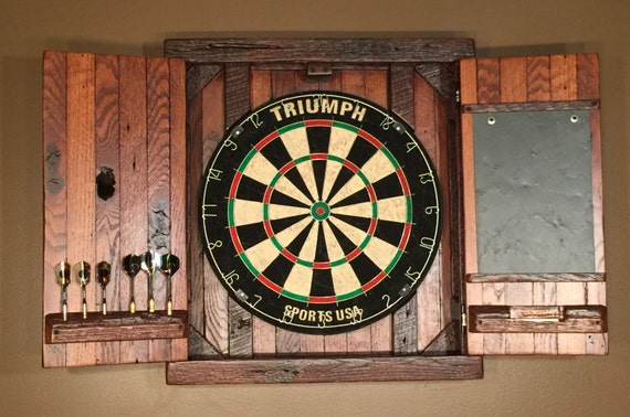 Rustic Dartboard Cabinet w/ Chalkboard MADE TO ORDER