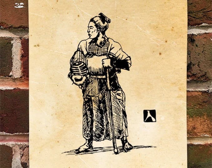 KillerBeeMoto: Limited Hand Drawn Print of Samurai Warrior in Kendo Armor Print 1 of 100