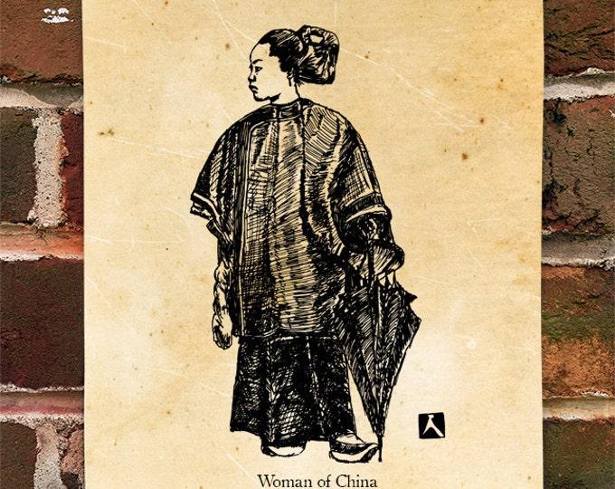 "KillerBeeMoto: Limited Hand Drawn Print of ""Woman of China"" Print 1 of 100"