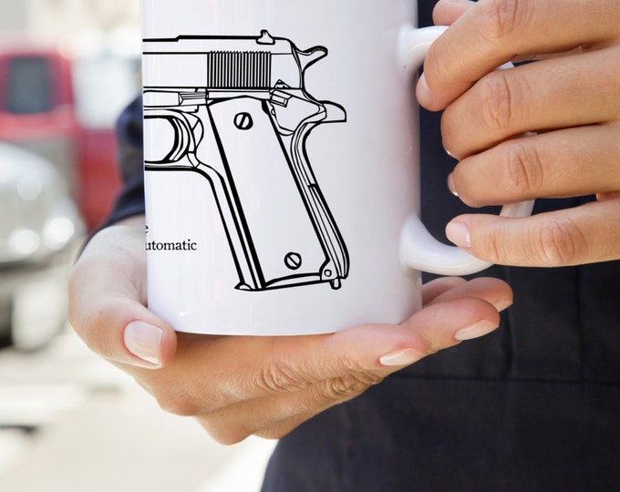 KillerBeeMoto:  U.S. Made M1911 Semi-Automatic Pistol Coffee Mug