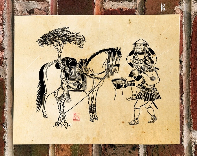 KillerBeeMoto: Limited Release Print of Japanese Samurai Watering Their Horses On 1 of 50