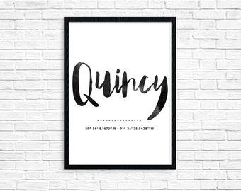 PRINTABLE Quincy IL Coordinates 8x10