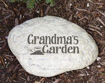 Personalized Engraved Garden Stone, Grandma's Garden Stone