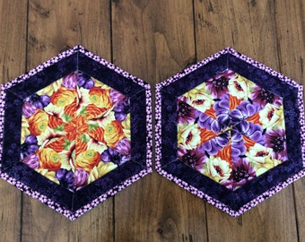 Kaleidoscope Quilted Mug Rugs Set of 2, Floral Hexagon Coasters, Candle Mats, Mini Placemats, Unique Coffee Table Decor