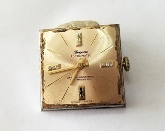 Vintage Longune Watch Movement, Dial, Wrist Watch, Rhinestone, Steampunk, Altered Art, Beading, Jewelry, Supply, Supplies, not working