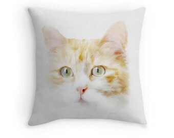Cat Scatter Cushion, Ginger Tabby Cat, 16x16 Throw Pillow, Fine Art Cushion Cover, Gift for Cat Owners