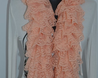 Lace scarf, salmon color