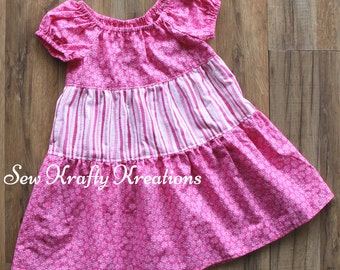 Girl's Dress - Pink Flowers/Stripes - Tiered Dress