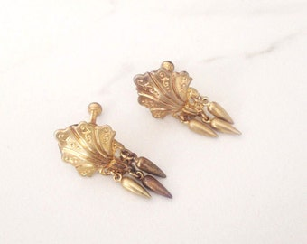 Victorian silver gilt earrings. Antique gold earrings. Antique Victorian gilt earrings. C. 1900 screwback earrings.