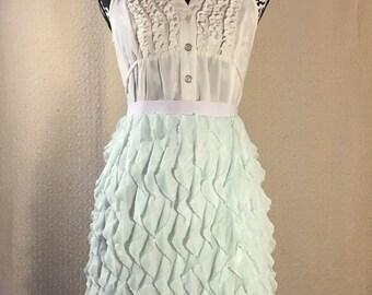 Ruffle knit skirt, mint summer skirt