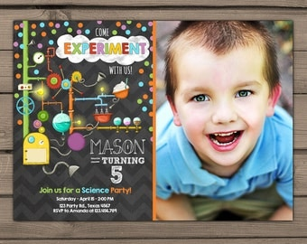 Science birthday invitations Science birthday party invitation Science party invites Boy birthday Girl birthday PRINTABLE invitation ANY AGE