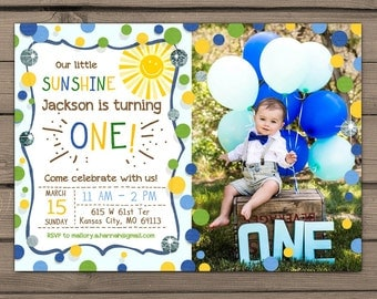 Sunshine Birthday Party Invite Sunshine invitation First Birthday Invite You are my Sunshine Blue green Birthday Digital PRINTABLE ANY AGE