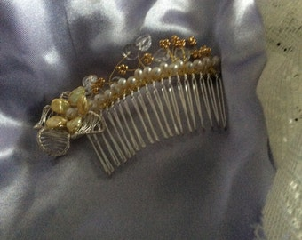 HAIR COMB - freshwater potato pearl, lemon keishi pearls