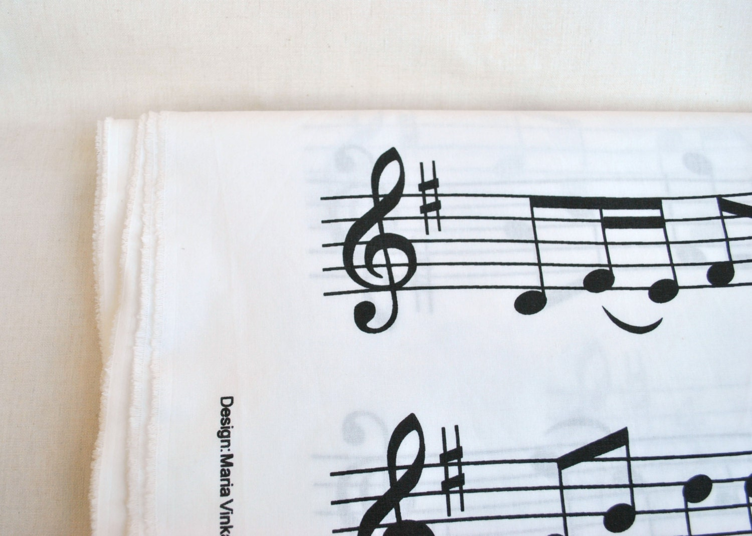 ikea cotton fabric with musical notes drawings 3 yards black