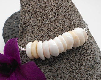 Puka Shell Bracelet - Puka Shells, Bridesmaid, Beach Wedding, Tropical, Silver Bracelet, Sea Shell Bracelet, Beach Jewelry