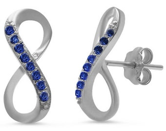 Infinity Twisted Knot Crisscross Stud Post Earring Twisted Round Deep Blue Sapphire Solid 925 Sterling Silver Infinity Earring Love Gift