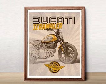 Ducati Scrambler wall art, Motorcycle Art, Garage Art, Ducati Decor, Instant Download, Ducati Poster, Ducati Art, 8x10""