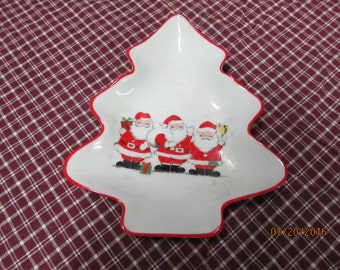Vintage Christmas Tree Shaped Candy Nut Dish with Santa Clause Trio