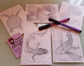 Fine Art Adult Colouring in Postcard set, 5 intricate designs, coloring activity for pens or pencils. Octopus, jellyfish, koi, betta, turtle