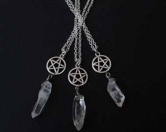 crystal point pentagram necklace, gothic, occult jewelry, witchy, nu goth, quartz necklace