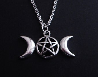 triple moon necklace - pentagram necklace - pagan - wicca - goth - gothic - witch jewelry