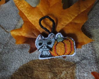 Autumn Kitty Cat with Striped Tail and Harvest Pumpkin Charm (for Keychains, Backpacks, Bags, Purses, and Zippers)