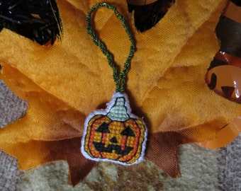 Jack-O-Lantern Halloween Pumpkin Cross Stitch Charm (for Keychains, Bags, Purses, and/or Zippers)