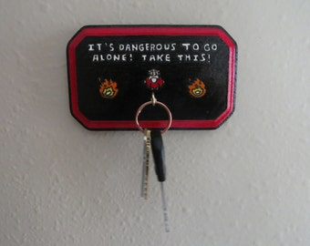 "Legend of Zelda Key Holder; ""It's Dangerous to Go Alone! Take this!"""