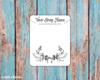 Necklace Cards, Custom Necklace Display Cards, Rustic Floral, P0103-2