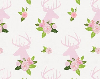 Pink Floral Deer Head Organic Fabric - By The Yard - Girl / Animal Print