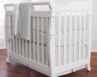 Solid Silver Gray Girl Mini Crib Bumper / Boy Mini Crib Bumper / Gender Neutral Mini Crib Bedding
