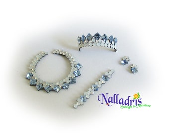 Miniature Necklace with tiara, bracelet and tiny earrings
