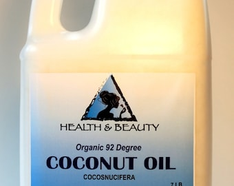 7 Lb, 1 gal COCONUT OIL 92 DEGREE Organic Carrier Cold Pressed Ultra Refined 100% Pure