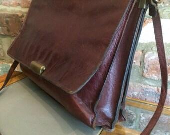 Vintage Brown Leather Satchel, Messenger Bag, Briefcase, Case, Computer Bag