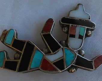 Zuni rainbow man pin/brooch silver, inlaid of multi stone