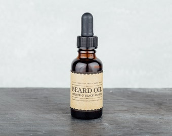 Beard Oil - Vetiver and Black Pepper. Beard Conditioner. Beard Grooming and Care.