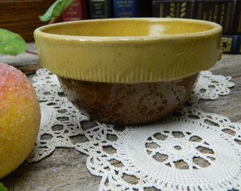 Vintage Primitive Yellow Ware Cook - Rite Cookin Wear Brown Pottery Small Mixing Bowl