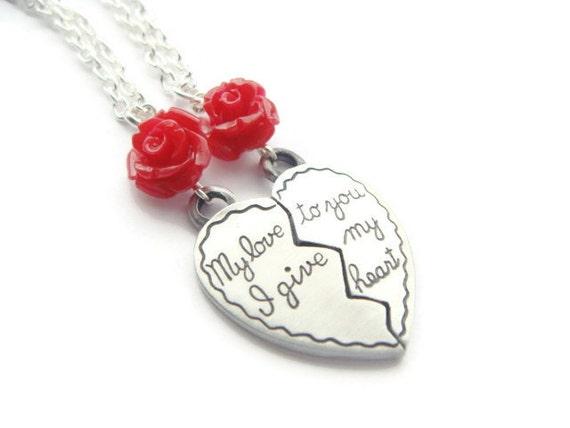 split heart necklace set half heart necklaces girlfriend. Black Bedroom Furniture Sets. Home Design Ideas