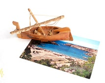 Wooden boat, Summer gift, Father Day gifts, nautical home decor, beach decor, Spain, Mediterranean decor