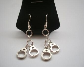 Handcuffs Earrings. Kinky, BDSM. FREE UK Postage.