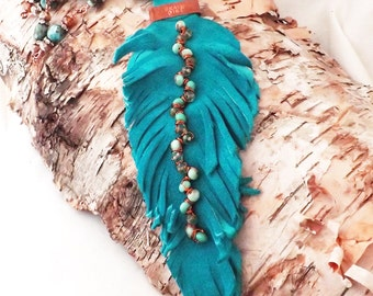 Brave Girl Upcycled Suede Leather Feather Beaded Boho Statement Necklace