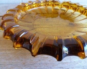 Amber Glass Ex Large Vintage Round Ashtray Amber Dish