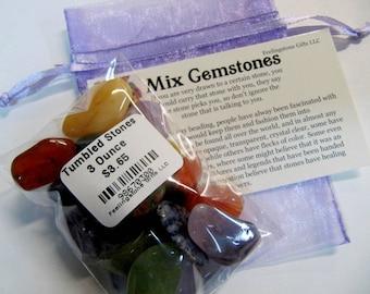 Tumbled Mix Gemstones , 3 Ounces, For The Kids,  Mix Tumbled Stones, Chakra,  Reiki, Yoga,  Kids,  Treasure Bag