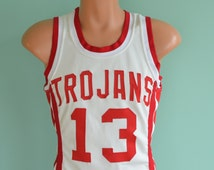 80s Basketball Jersey Trojans High School 13 White Red Stripe Wilson Small 38