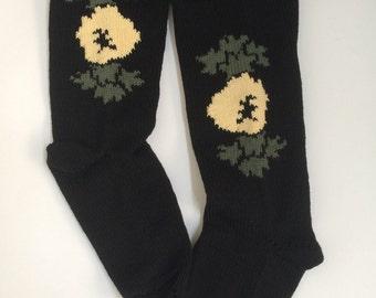 Cream Anemone Rose Folk Knitted Socks, all cotton, women's size 4-6 UK, vegan