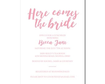 Bridal Shower Invitation | Here comes the bride | Script Bridal Shower Invite | DIY Option Available | Invitation | #100