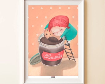 """Print """"Chocolate"""" - Poster illustration Little girl with biscuit in the chocolate"""