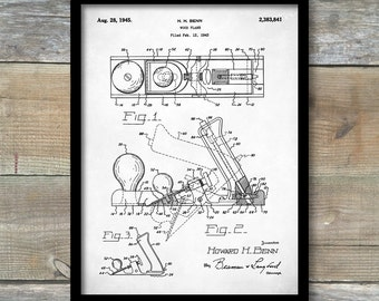Patent Print, Wood Plane Patent Poster, Tool Art, Unique Gifts for Dad, Garage Decor, Woodworking Poster, P318