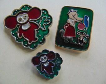 The set of three icons. Cartoon character - Cheburashka. Cheburashka anime, made in the USSR.