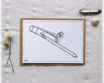 Trombone ~ Gift Card featuring Watercolour & Ink Illustration